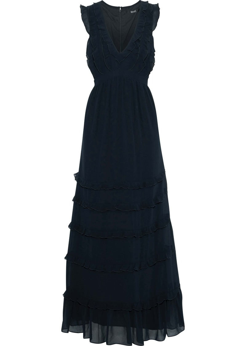 Badgley Mischka Woman Ruffled Tiered Georgette Gown Navy