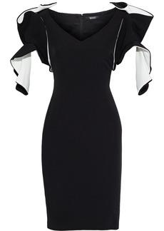 Badgley Mischka Woman Ruffled Two-tone Stretch-cady Dress Black