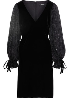Badgley Mischka Woman Sequin-embellished Tulle And Velvet Dress Black