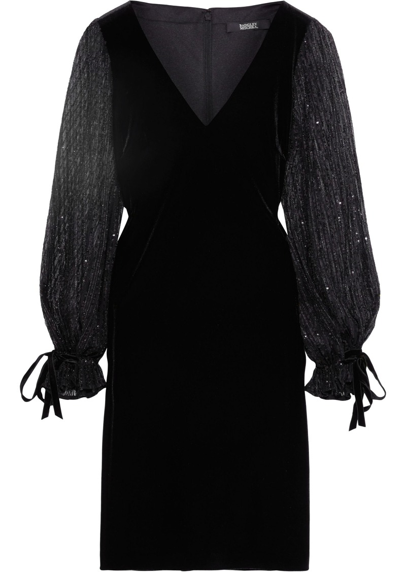 Badgley Mischka Woman Sequin-embellished Tulle And Velvet Dress Black
