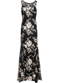Badgley Mischka Woman Sequin-embellished Tulle Gown Black