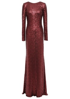 Badgley Mischka Woman Sequined Tulle Gown Merlot