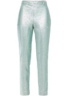 Badgley Mischka Woman Sequined Tulle Slim-leg Pants Turquoise