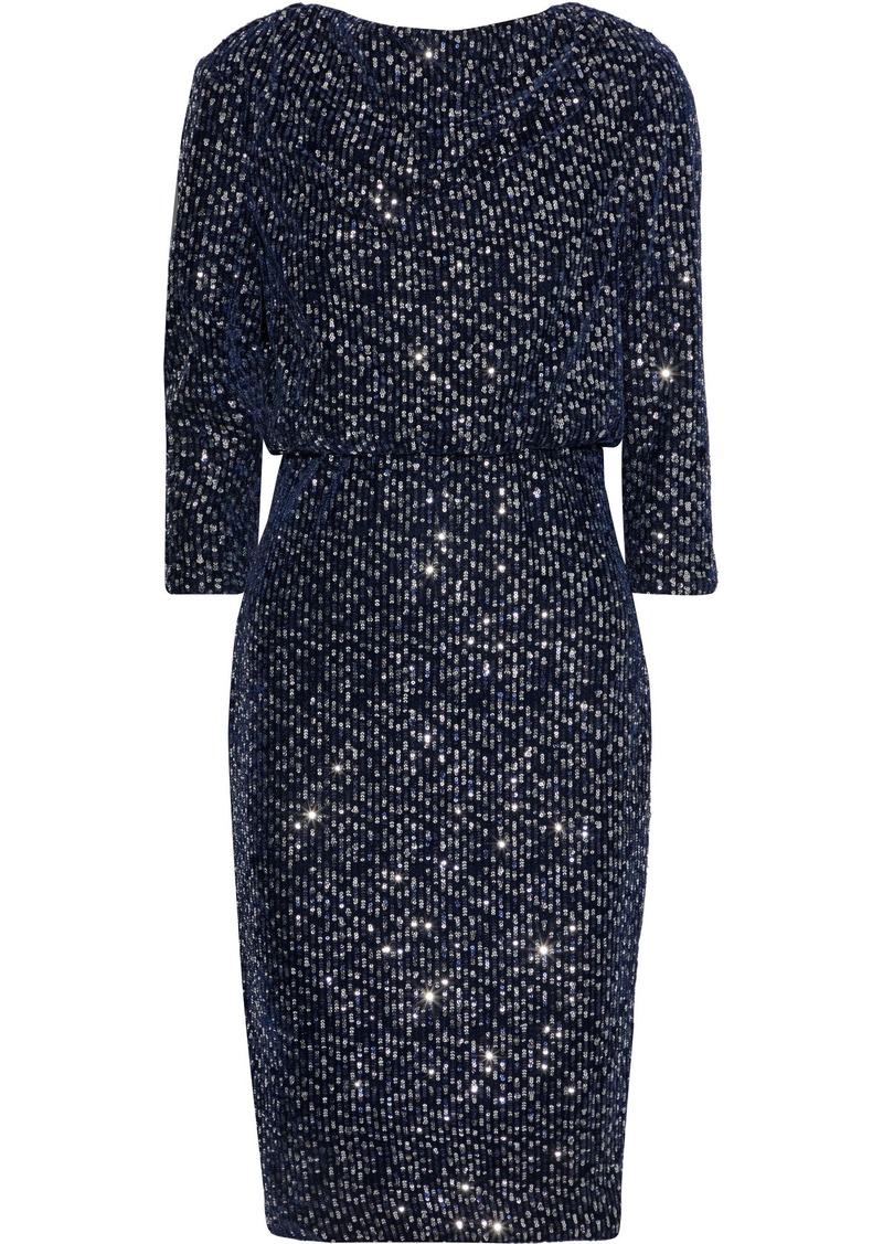 Badgley Mischka Woman Sequined Velvet Dress Navy