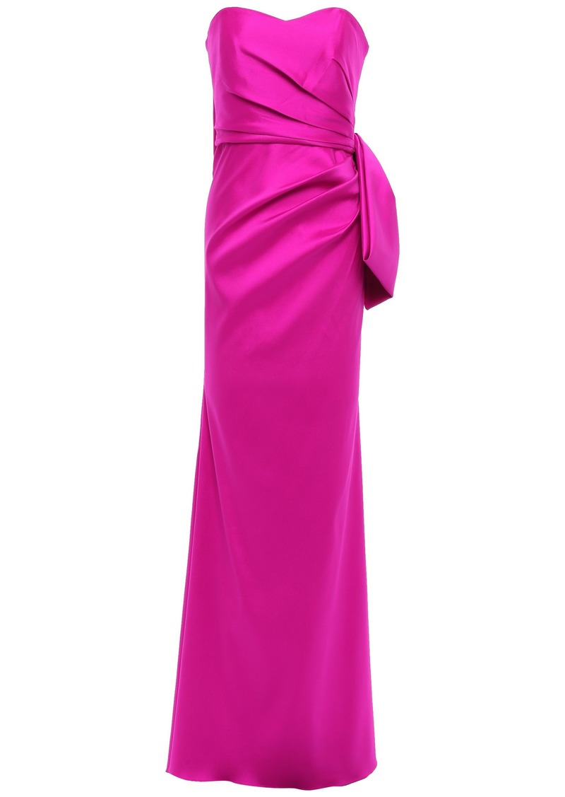 Badgley Mischka Woman Strapless Bow-embellished Faille Gown Magenta