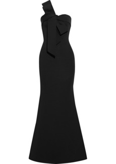 Badgley Mischka Woman Strapless Bow-embellished Scuba Gown Black