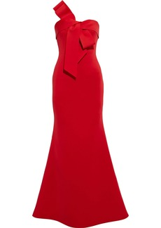 Badgley Mischka Woman Strapless Bow-embellished Scuba Gown Red