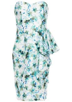 Badgley Mischka Woman Strapless Draped Floral-print Faille Dress White