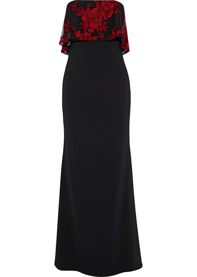 Badgley Mischka Woman Strapless Embroidered Tulle-paneled Cady Gown Black
