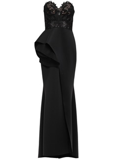 Badgley Mischka Woman Strapless Guipure Lace-paneled Layered Scuba Gown Black