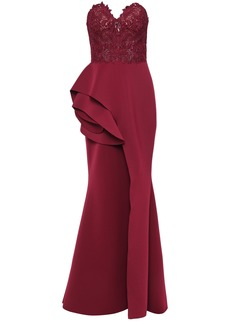 Badgley Mischka Woman Strapless Guipure Lace-paneled Layered Scuba Gown Merlot