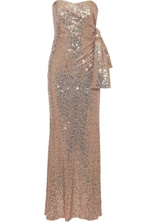 Badgley Mischka Woman Strapless Knotted Sequined Stretch-mesh Gown Antique Rose