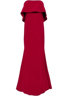 Badgley Mischka Woman Strapless Layered Stretch-crepe Gown Claret