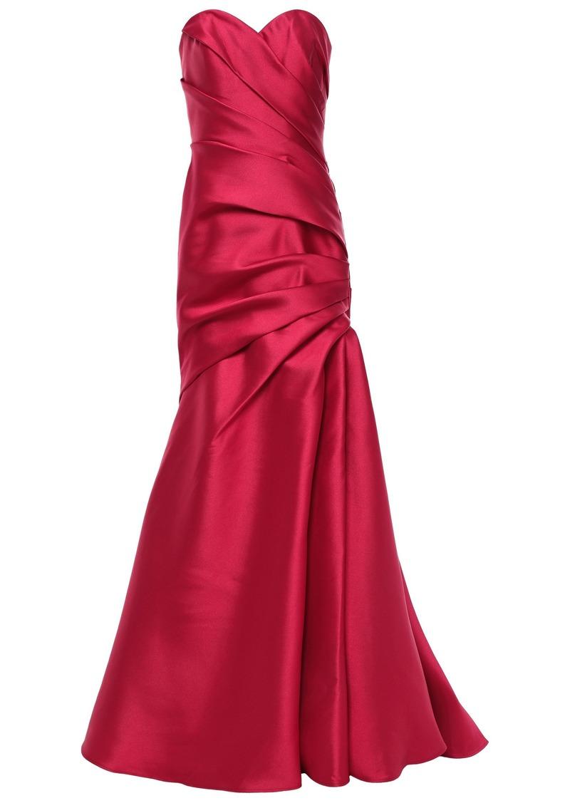 Badgley Mischka Woman Strapless Pleated Faille Gown Crimson