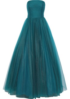 Badgley Mischka Woman Strapless Pleated Tulle Gown Teal