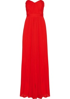Badgley Mischka Woman Strapless Ruched Crinkled Gauze Gown Red
