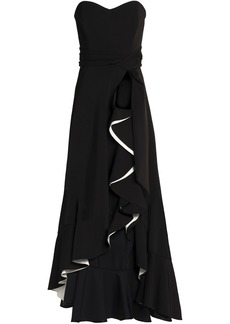 Badgley Mischka Woman Strapless Ruffled Crepe Gown Black