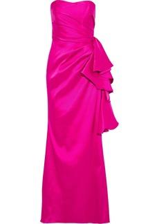 Badgley Mischka Woman Strapless Ruffled Mikado Gown Bright Pink