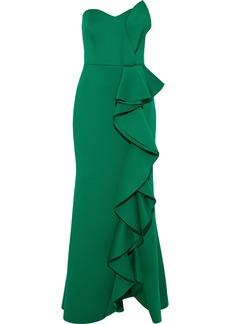 Badgley Mischka Woman Strapless Ruffled Draped Scuba Gown Green