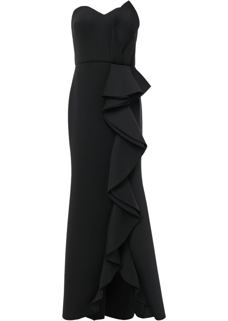 Badgley Mischka Woman Strapless Ruffled Scuba Gown Black