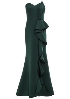 Badgley Mischka Woman Strapless Ruffled Scuba Gown Forest Green