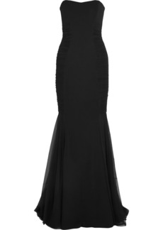 Badgley Mischka Woman Strapless Tulle-trimmed Crepe Gown Black