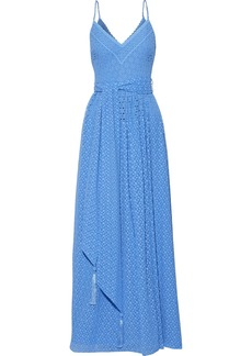 Badgley Mischka Woman Tasseled Broderie Anglaise Georgette Gown Azure