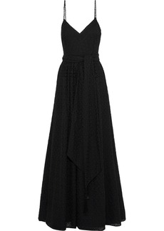 Badgley Mischka Woman Tasseled Broderie Anglaise Georgette Gown Black