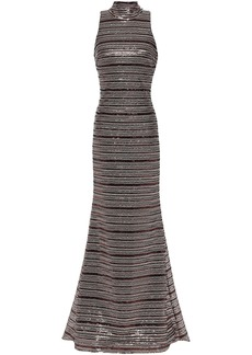 Badgley Mischka Woman Tie-neck Sequined Tulle Gown Bronze