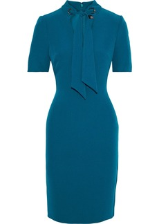 Badgley Mischka Woman Tie-neck Stretch-crepe Dress Slate Blue
