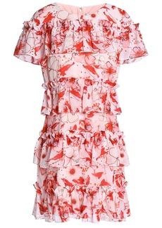 Badgley Mischka Woman Tiered Floral-print Georgette Mini Dress Baby Pink