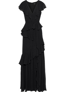 Badgley Mischka Woman Tiered Ruffled Georgette Gown Black