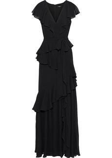 Badgley Mischka Woman Tiered Ruffled Georgette Gown Black