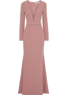 Badgley Mischka Woman Tulle-paneled Stretch-cady Gown Antique Rose