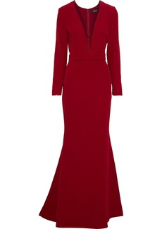 Badgley Mischka Woman Tulle-paneled Stretch-cady Gown Crimson