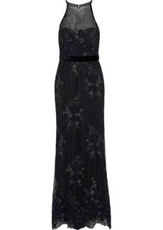 Badgley Mischka Woman Velvet-trimmed Embellished Tulle Halterneck Gown Black