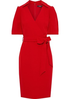 Badgley Mischka Woman Wrap-effect Belted Crepe Dress Red