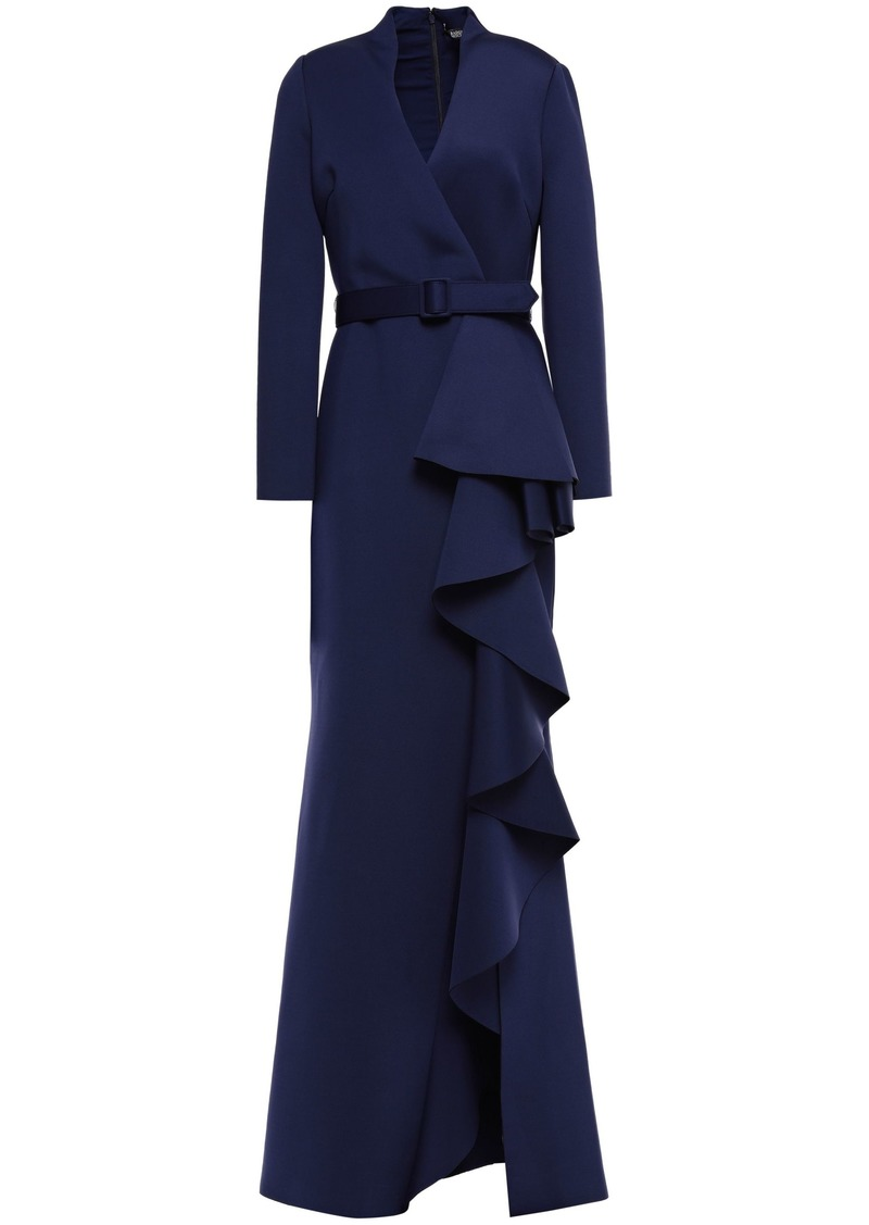Badgley Mischka Woman Belted Ruffled Neoprene Gown Navy