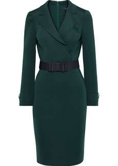 Badgley Mischka Woman Wrap-effect Belted Scuba Dress Dark Green