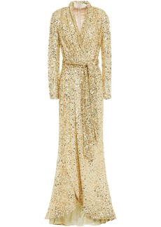 Badgley Mischka Woman Wrap-effect Sequined Tulle Gown Gold