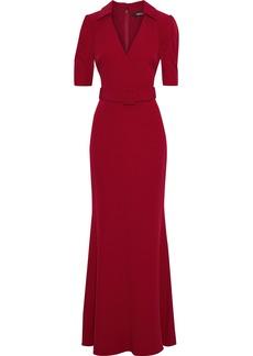 Badgley Mischka Woman Wrap-effect Belted Stretch-cady Gown Crimson