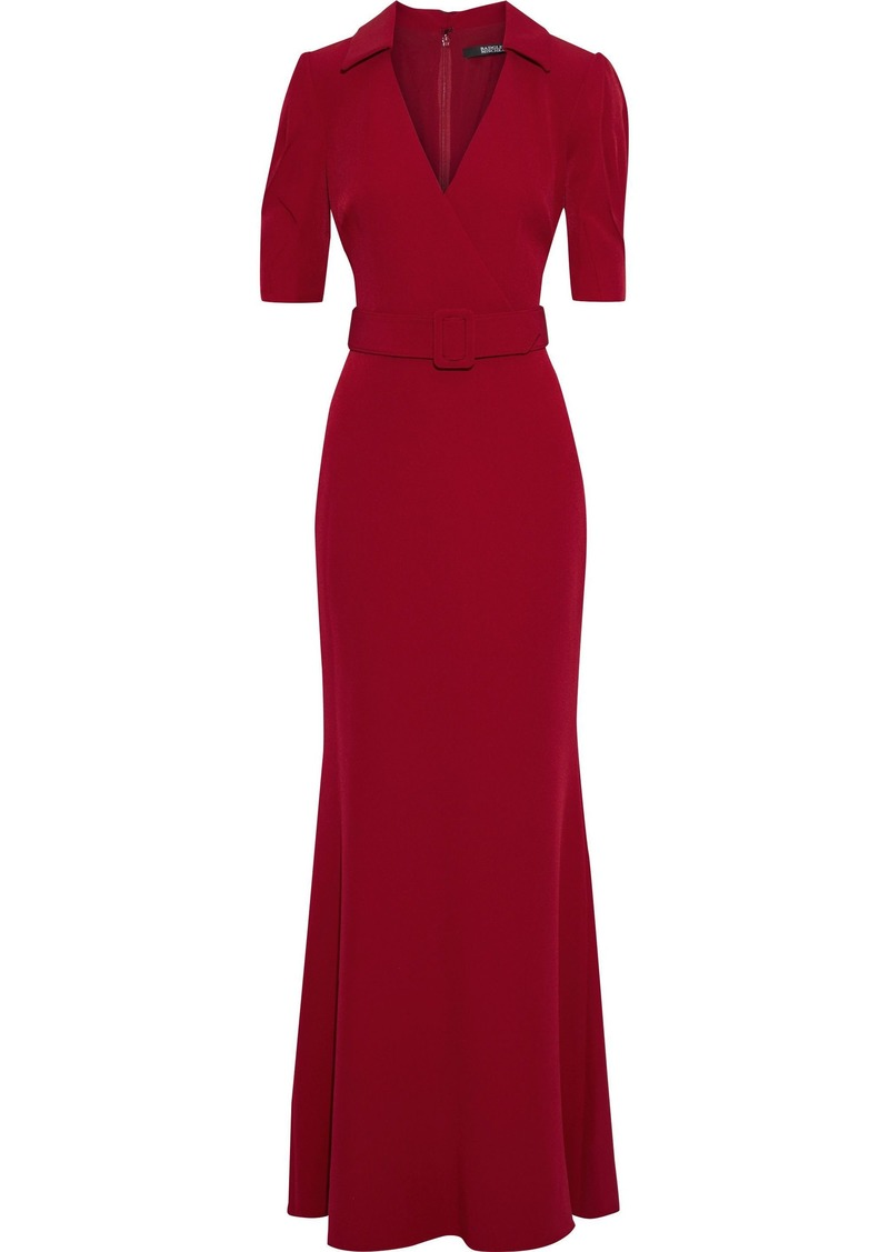 Badgley Mischka Woman Wrap-effect Belted Stretch-cady Gown Crimson