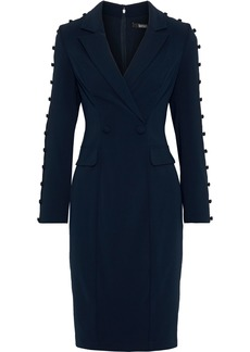 Badgley Mischka Woman Wrap-effect Button-detailed Cady Tuxedo Dress Midnight Blue