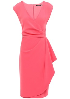 Badgley Mischka Woman Wrap-effect Cady Dress Coral