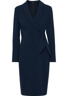 Badgley Mischka Woman Wrap-effect Cady Dress Navy