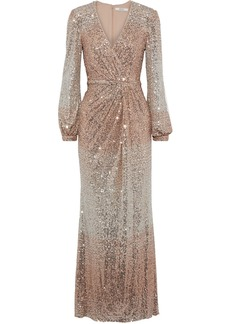 Badgley Mischka Woman Wrap-effect Dégradé Sequined Stretch-tulle Gown Rose Gold