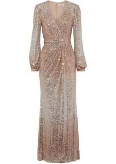 Badgley Mischka Woman Wrap-effect Dégradé Sequined Mesh Gown Rose Gold