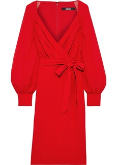 Badgley Mischka Woman Wrap-effect Georgette-paneled Crepe Dress Red