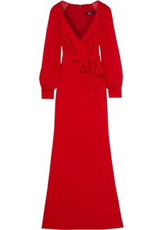 Badgley Mischka Woman Wrap-effect Georgette-paneled Crepe Gown Red