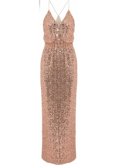 Badgley Mischka Woman Wrap-effect Sequined Tulle Gown Blush